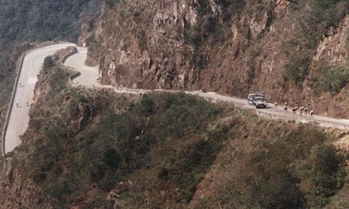 A subida da famosa Serra do Rio do Rastro, em 1988. Todas as edições do Tour de Santa Catarina subiram a serra