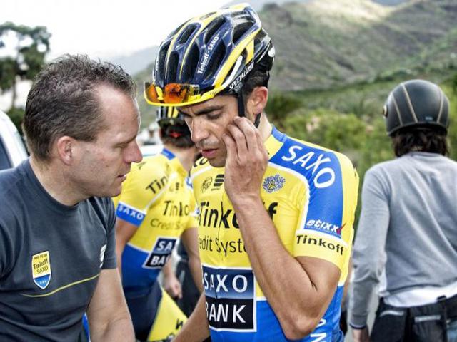 Steven de Jongh e Contador em treinamento no início do ano