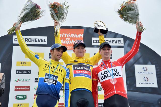 O campeão Talanksy com Contador em 2º e Jurgen Van Den Broeck em 3º