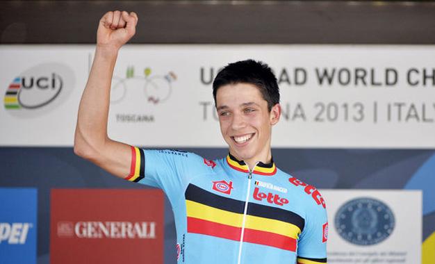 Igor Decraene no Mundial em Florença, no ano passado, quando conquistou o título no contrarrelógio sub 23