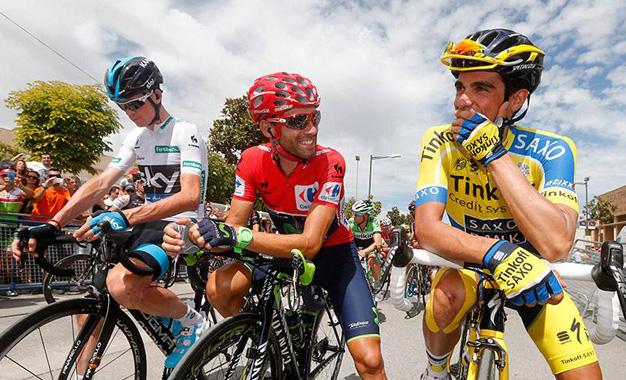 Chris Froome, Alejandro Valverde e Alberto Contador na largada da 7ª etapa da Vuelta