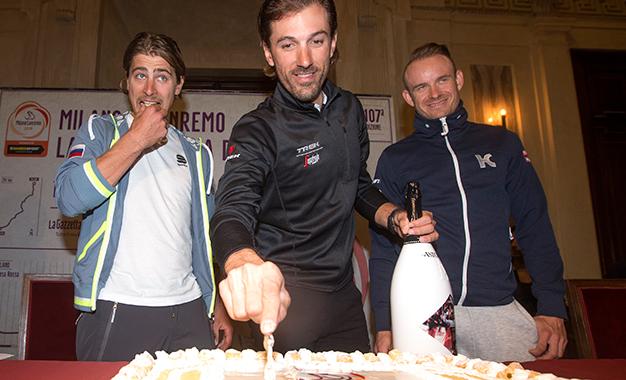 Sagan, Cancellara e Kristoff na apresentação da prova em Milão