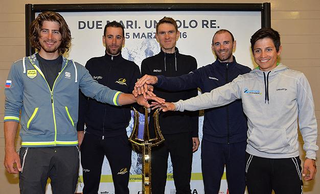 Sagan, Nibali, Van Garderen, Valverde e Esteban Chaves na apresentação da Tirreno-Adriático