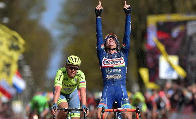 Gasparotto em sua segunda vitória na Amstel Gold Race