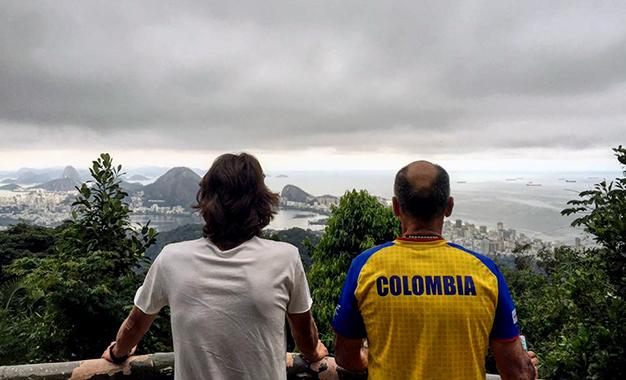 Rigoberto Uran e o técnico Jaramillo no Rio de Janeiro