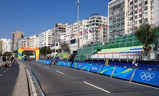 Local da largada do ciclismo na Praia de Copacabana