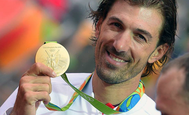 Fabian Cancellara com a medalha de ouro dos Jogos Rio 2016