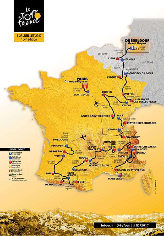 Mapa do percurso do Tour 2017, que começa na Alemanha
