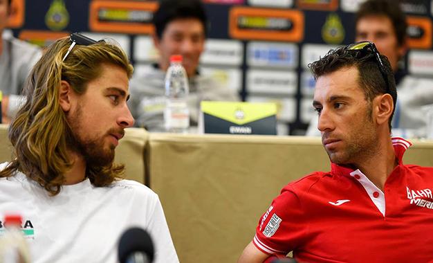 Sagan e Nibali na entrevista coletiva
